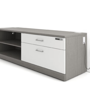 Laminate Credenza with Drawers and Open Storage
